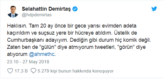 Demirtaş'tan Ahmet Hakan'a çok net espri