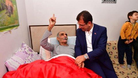 Hasta yatağındaki Ubeydullah Dede, İmamoğlu'nu duygulandırdı