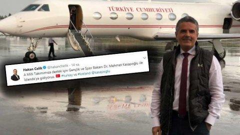 Spor Bakanı ve Hakan Çelik İzlanda maçına özel uçakla gitti, sosyal medya çalkalandı