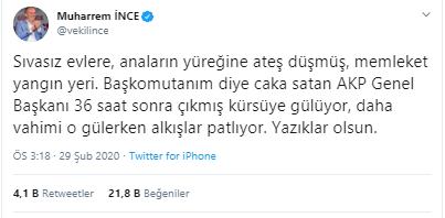 Muharrem İnce'den Erdoğan'a: Çıkmış kürsüye gülüyor, o gülerken alkışlar patlıyor