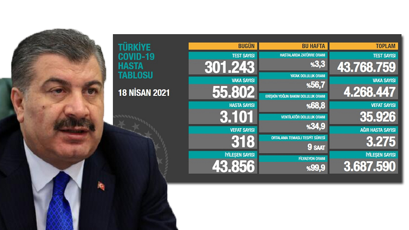 Türkiye'de koronavirüsten 318 kişi daha hayatını kaybetti! 55 bin 802 yeni vaka var