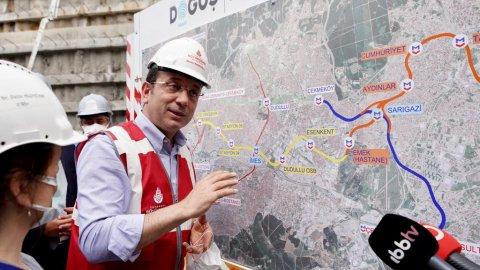 Ekrem İmamoğlu, 'İBB metro hattını durdurdu' iddialarının öne sürüldüğü metro hattı çalışmalarını ziyaret etti